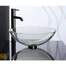 Clear Glass Bathroom Sinks - gv101whi crystal clear glass round vessel sink clear