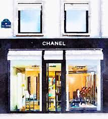 Fashion Home Decor by Art From Watercolor Painting Chanel Paris Store Storefront Shop