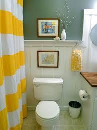 Yellow Striped Curtains Diy Bathroom Decor With Yellow Striped Curtains And Rustic Round