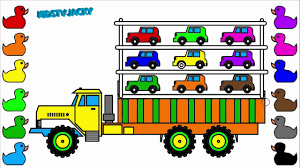 monster trucks coloring pages learn colors for kids with car carrier monster truck coloring book