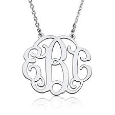 Monogram Bracelet Sterling Silver Amazon Com Monogram Necklace Sterling Silver Personalized Name