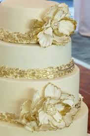 gold and ivory peony jeweled 5 tier wedding cake cakecentral com