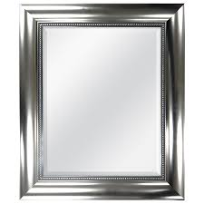 Beveled Mirror Shop Style Selections Brushed Nickel Beveled Wall Mirror At Lowes Com