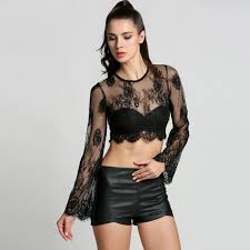 women flare long sleeve lace blouse see through o neck short