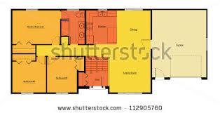 split level house floor plan stock illustration 112905742