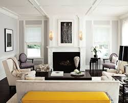 chic sophisticated living room lilac gray walls paint color