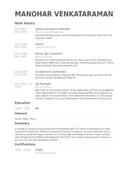 quality assurance manager resume samples visualcv resume samples