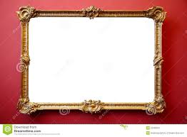 Picture Frame On Wall by Picture Gold Frame On Red Painted Wall Royalty Free Stock