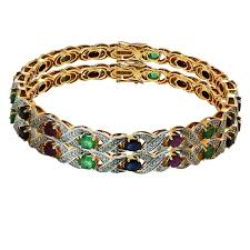 color stone bracelet images Diamond bangle with multi color stone jpg