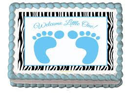 blue baby feet foot prints edible baby shower party cake