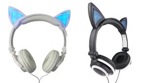 light up cat headphones kids dj style light up cat ear headphones save up to 75