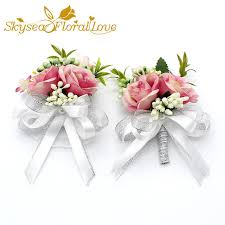 wrist corsages for prom online shop free shipping 2017 new white pink party corsages prom