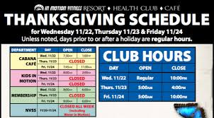 in motion fitness thanksgiving schedule 2017