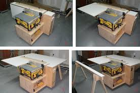 how to build a table saw workstation tablesaw outfeed support workstation with aux fence storage