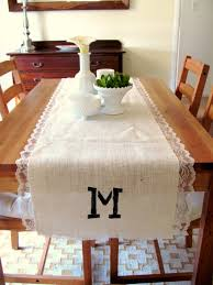 Burlap Lace Table Runner Acute How To Monogrammed Burlap Lace Table Runner Scoutie
