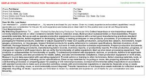 manufacturing production technician cover letter