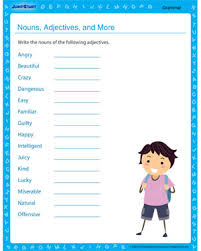nouns adjectives and more u2013 free grammar printable worksheet on