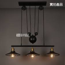 industrial pulley pendant light industrial factory edison vintage 3 light iron mirror lifting pulley