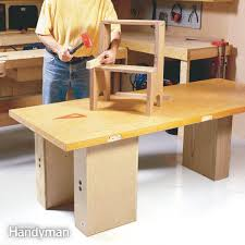 Building A Wooden Desktop by How To Build A Diy Workbench Super Simple 50 Bench Family Handyman