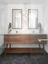 Walnut Bathroom Vanity by Beatty St Loft Cube Tile Floor Charcoal Floor Mid Century