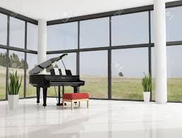 piano in living room grand piano in a modern minimalist living room stock photo
