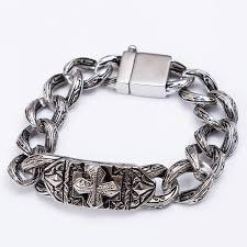 stainless link bracelet images Trustylan retro chain link bracelet men 17mm wide heavy cross jpeg