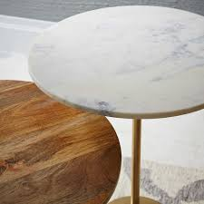marble and brass coffee table maisie side table west elm