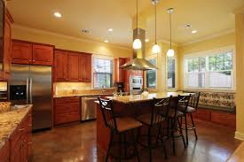 Cream Color Kitchen Cabinets Cool Brown Color Concrete Kitchen Floor With Rectangle Shape Brown