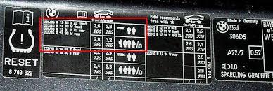 bmw 3 series tyre pressure tyre pressure placard