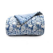 Quilted Cotton Coverlet Indigo Quilt Blue And White Quilt Cotton Coverlet Block