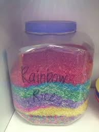 food coloring and white rice put in a freezer bag and let