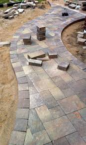 Large Paver Patio by Stacked Grey Stone Patio With Stone Side Walk And Large Yard With
