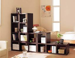 Narrow Room Divider Narrow Brown Teak Wood Bookshelf As Room Divider In Stair