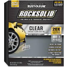 rust oleum rocksolid 90 oz clear top coat garage floor kit 286897