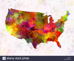 Usa Map Image Usa Map In Watercolor Painting Abstract Splatters Stock Photo