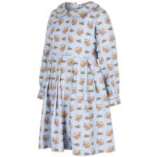 rachel riley girls pale blue dress with squirrel print and bow