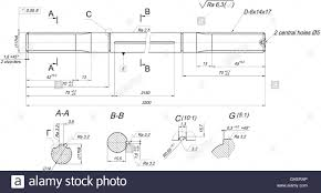 expanded shaft sketch with radius and radical stock vector art