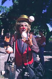 clowns juggling balls single image detail
