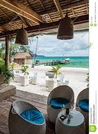 beach bar in sok san area of koh rong island cambodia editorial
