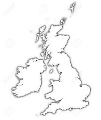 Map Of England And Ireland by Great Britain And Ireland Outline Map With Shadow Detailed