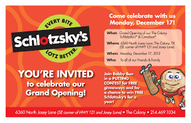 Invitation Card For New Shop Opening Dallas Schlotzsky U0027s