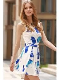 white summer dress cut out collar flower print dress blue and white summer