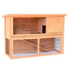 pawhut 54 wooden small rabbit hutch 4 doors with ramp