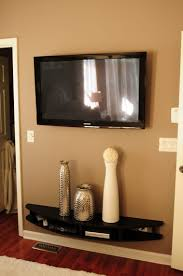 How To Decorate Floating Shelves Furniture Curved Black Wooden Floating Shelves Under Black Led Tv