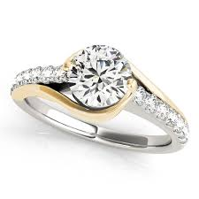 two tone wedding rings solitaire engagement ring diamond accented 14k two tone gold 1 00ct
