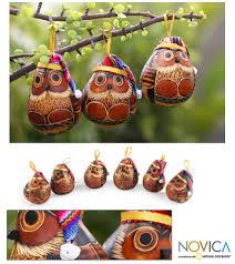 hand painted gourd owl ornaments búhos hechos con calabazas