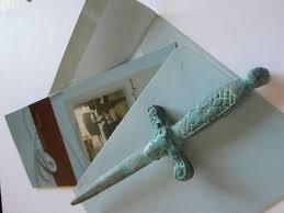 Unique Letter Opener Colonial Sword Verdigris Patina Gilt Decorated Ram Letter Opener