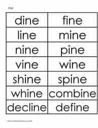 ine word family worksheets