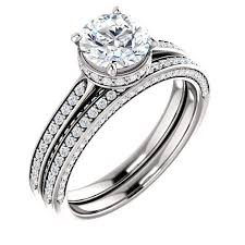 wedding set georgina halo cubic zirconia engagement ring matching band
