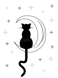 black cat with sitting on the moon stock vector